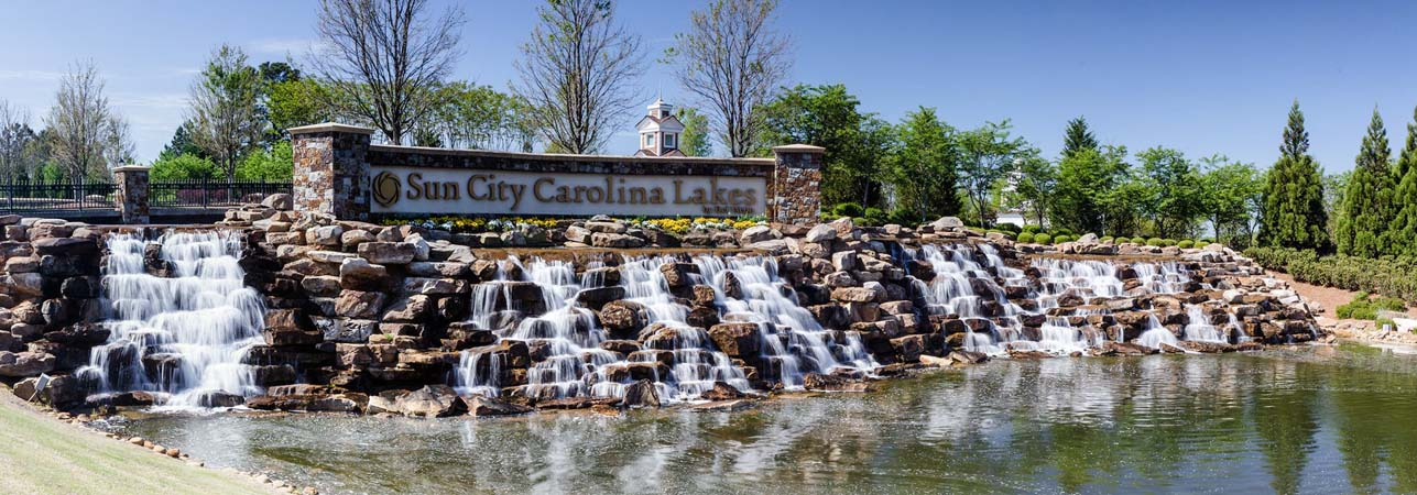 Sun City Carolina Lakes waterfall entry